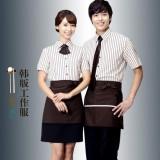 工作服夏装女快餐店西餐咖啡厅韩式服务员前台收银制服定做