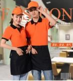 重庆夏季快餐店工作服t恤短袖超市服务员工作服t恤夏装工衣T恤定做